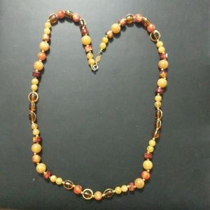 Vintage Freirich Amber Colored Beaded Necklace
